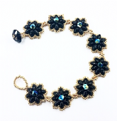 Daisy SuperDuo Bracelet Kit with SWAROVSKI  Black & Gold - Beginner